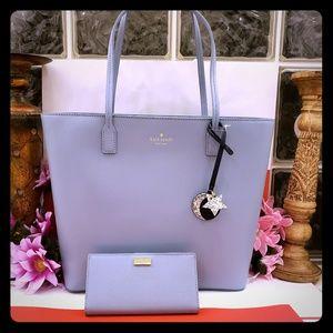 Kate spade tote shoppers purse bag w/wallet set
